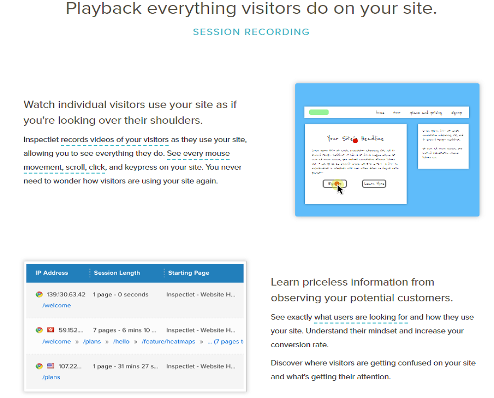 Inspectlet SEO - Playback eveything visitors do on your site